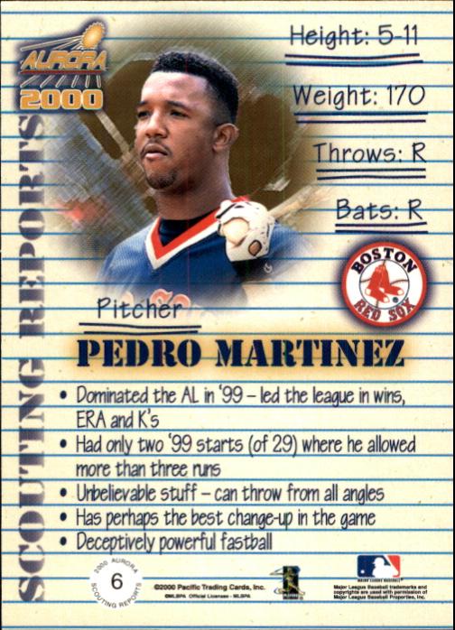 2000 Aurora Scouting Report #6 Pedro Martinez back image