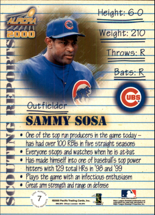2000 Aurora Scouting Report #7 Sammy Sosa back image