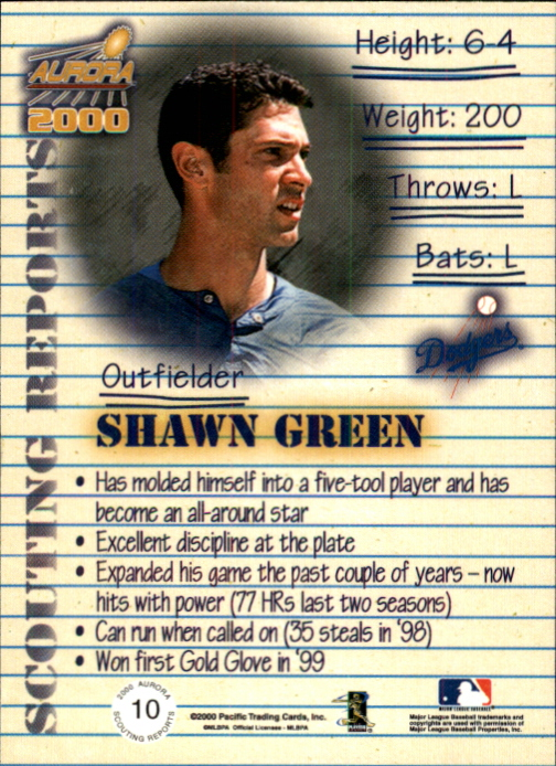 2000 Aurora Scouting Report #10 Shawn Green back image