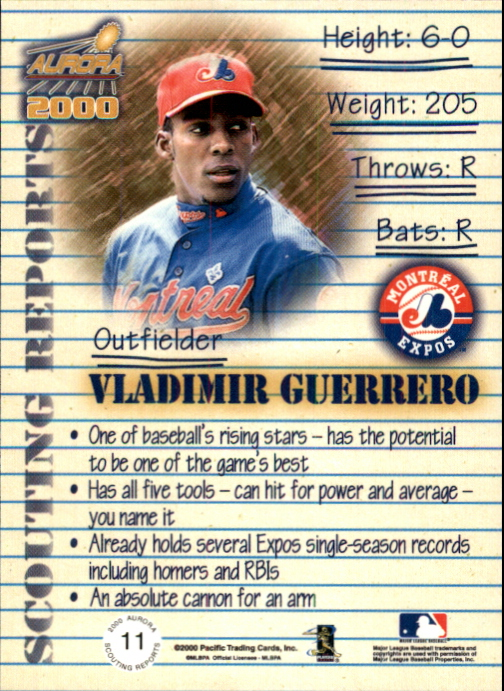 2000 Aurora Scouting Report #11 Vladimir Guerrero back image
