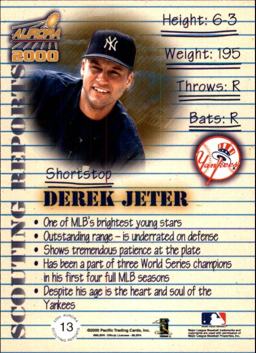 2000 Aurora Scouting Report #13 Derek Jeter back image