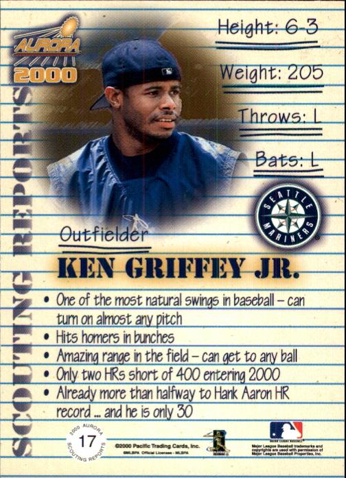 2000 Aurora Scouting Report #17 Ken Griffey Jr. back image