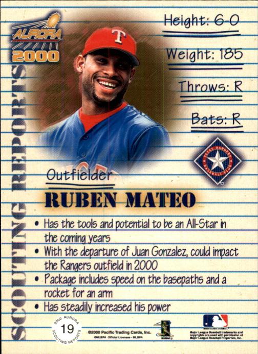 2000 Aurora Scouting Report #19 Ruben Mateo back image