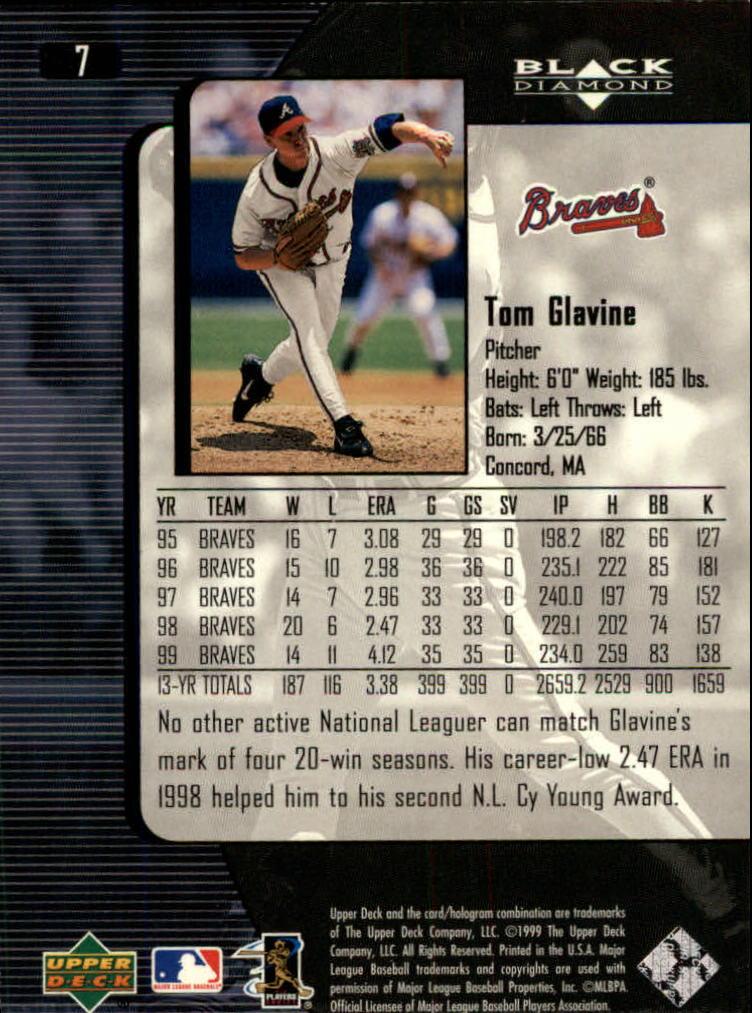 2000 Black Diamond #7 Tom Glavine back image