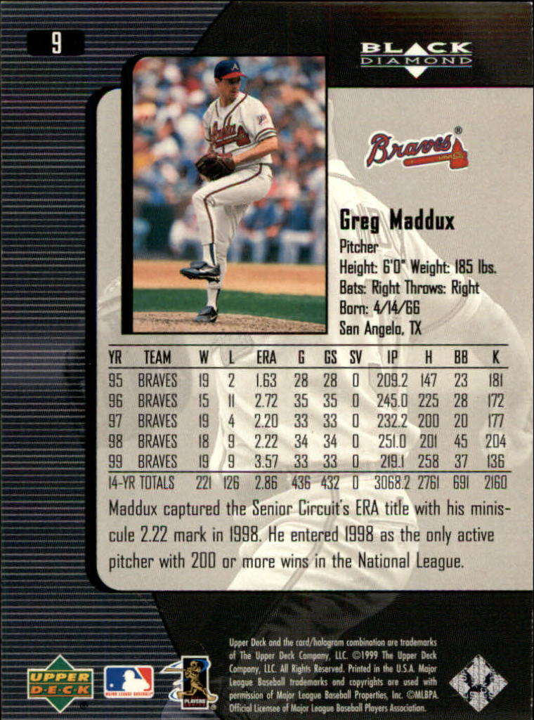2000 Black Diamond #9 Greg Maddux back image