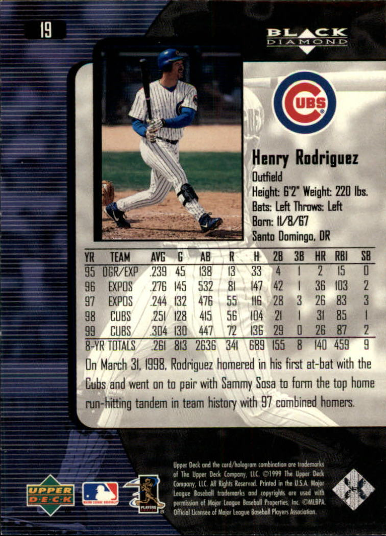 2000 Black Diamond #19 Henry Rodriguez back image