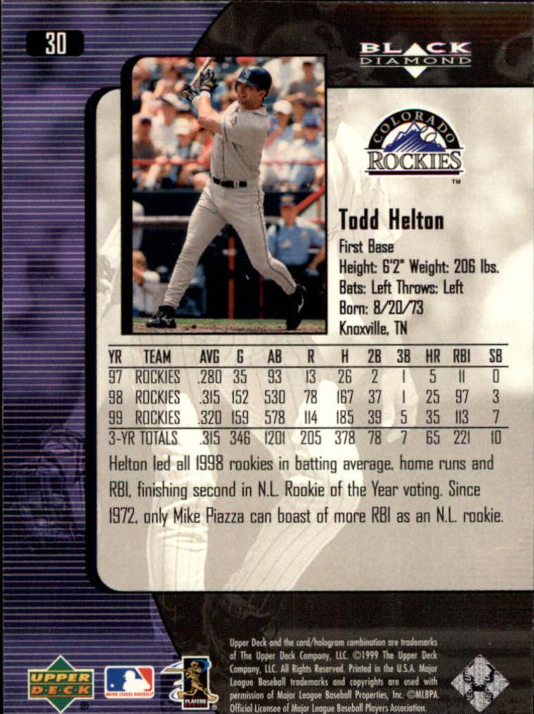2000 Black Diamond #30 Todd Helton back image