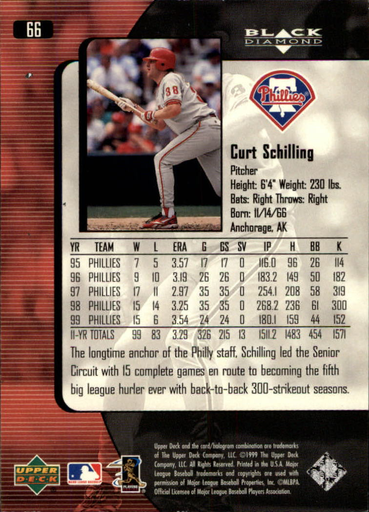 2000 Black Diamond #66 Curt Schilling back image