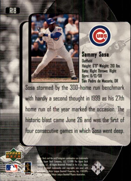 2000 Black Diamond Reciprocal Cut #18 Sammy Sosa back image