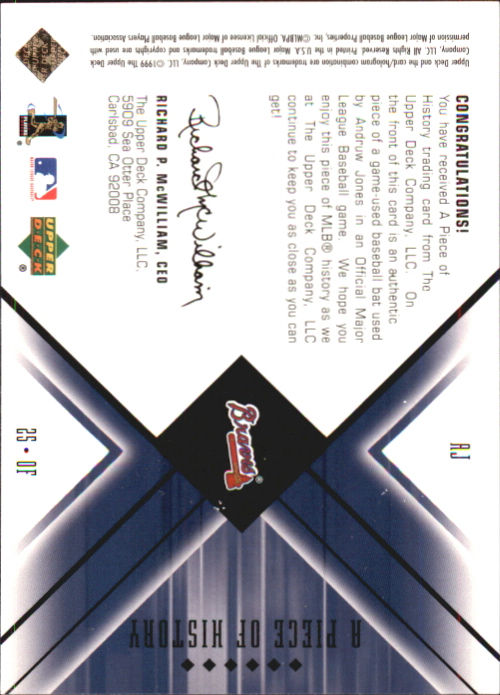 2000 Black Diamond A Piece of History #AJ Andruw Jones back image