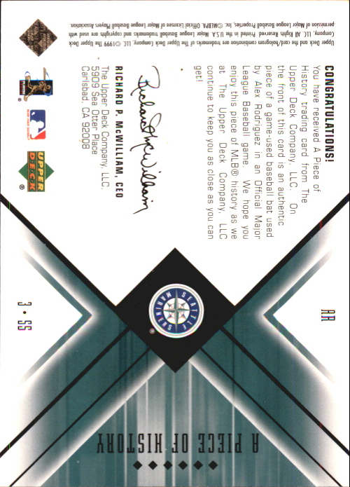 2000 Black Diamond A Piece of History #AR Alex Rodriguez back image