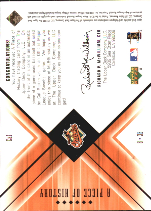 2000 Black Diamond A Piece of History #CAL Cal Ripken back image