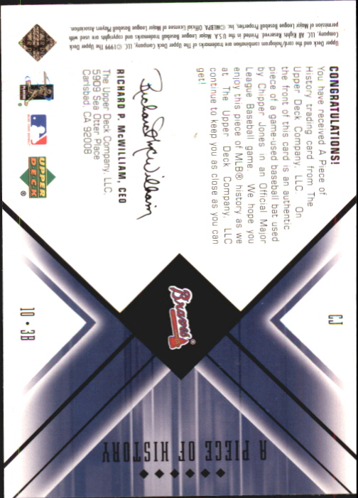 2000 Black Diamond A Piece of History #CJ Chipper Jones back image