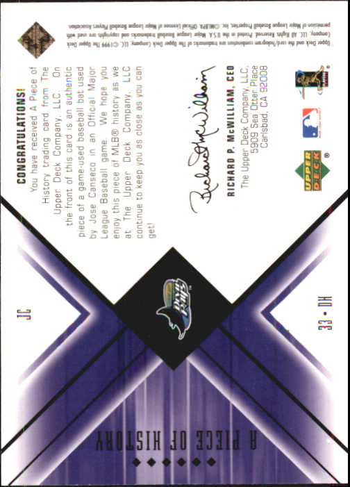 2000 Black Diamond A Piece of History #JC Jose Canseco back image