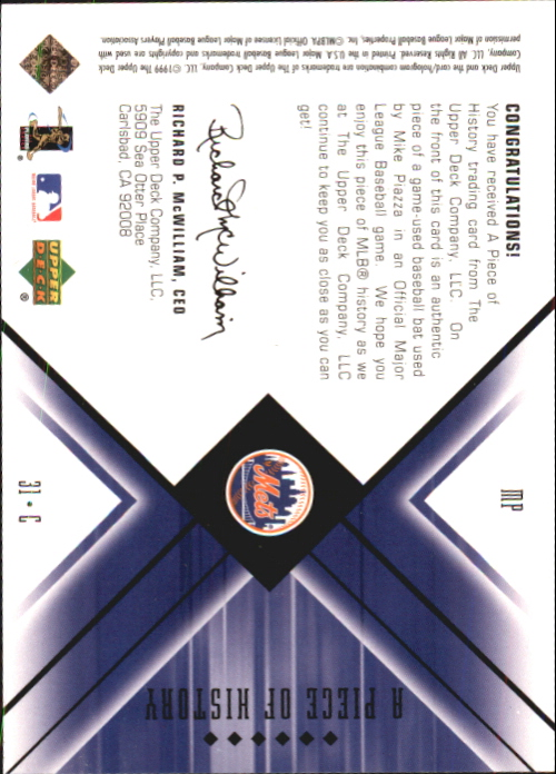 2000 Black Diamond A Piece of History #MP Mike Piazza back image
