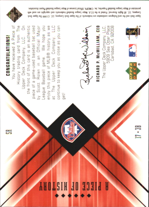 2000 Black Diamond A Piece of History #SR Scott Rolen back image
