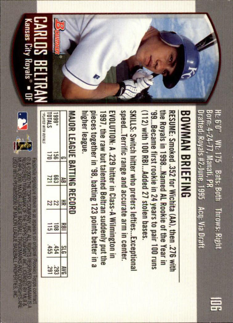 2000 Bowman #106 Carlos Beltran back image