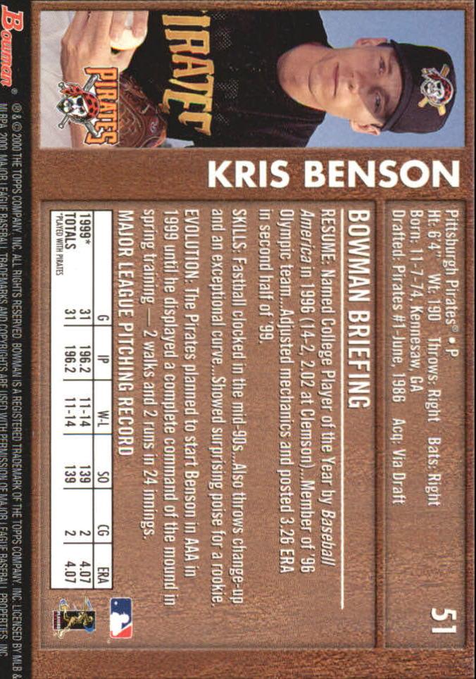 2000 Bowman Retro/Future #51 Kris Benson back image