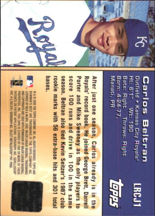 2000 Bowman's Best Locker Room Collection Jerseys #LRCJ1 Carlos Beltran back image
