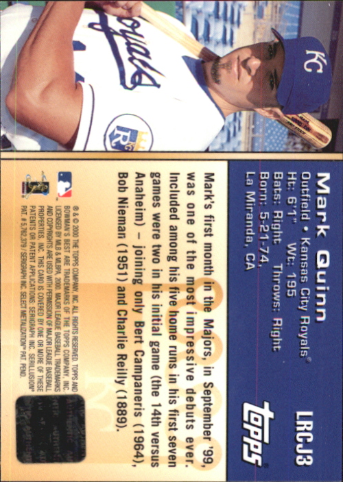 2000 Bowman's Best Locker Room Collection Jerseys #LRCJ3 Mark Quinn back image