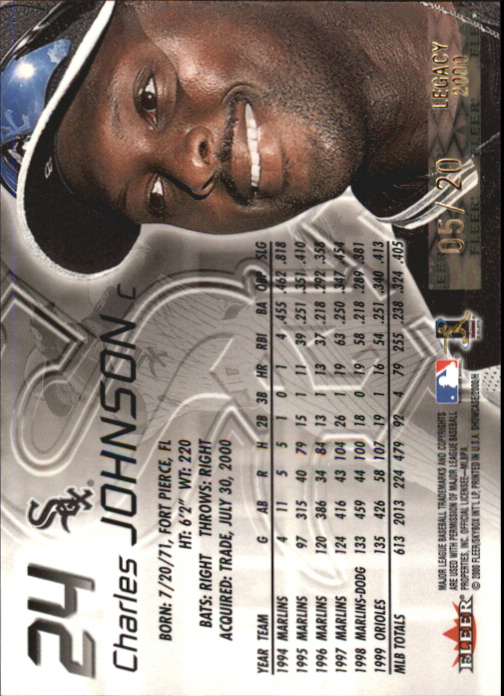 2000 Fleer Showcase Legacy Collection #24 Charles Johnson back image