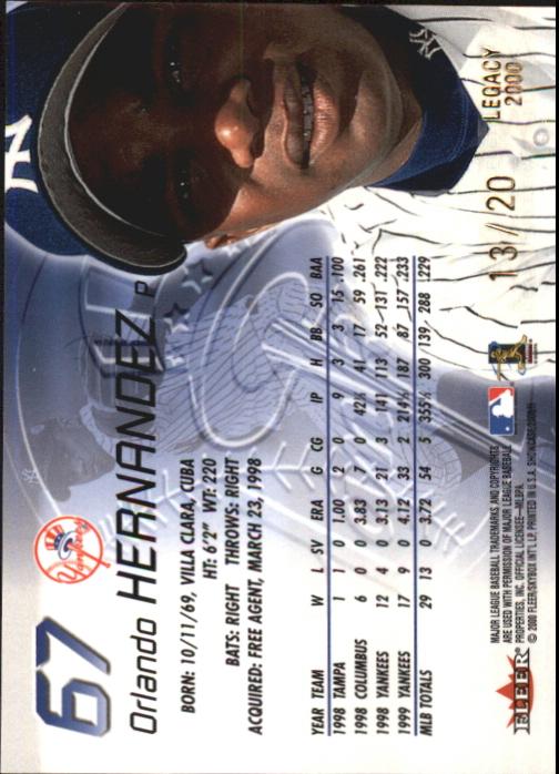 2000 Fleer Showcase Legacy Collection #67 Orlando Hernandez back image