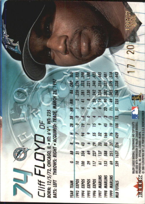 2000 Fleer Showcase Legacy Collection #74 Cliff Floyd back image