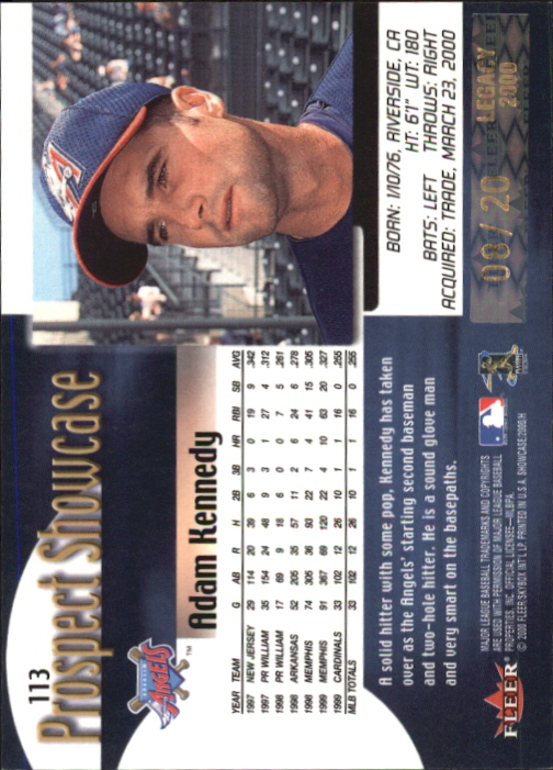 2000 Fleer Showcase Legacy Collection #113 Adam Kennedy PROS back image