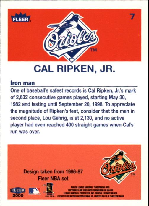 2000 Fleer Tradition Ripken Collection #7 Cal Ripken '86 BK back image