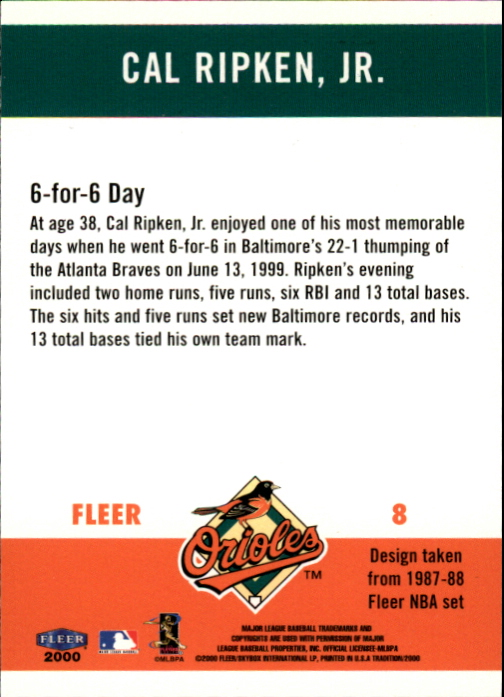 2000 Fleer Tradition Ripken Collection #8 Cal Ripken '87 BK back image