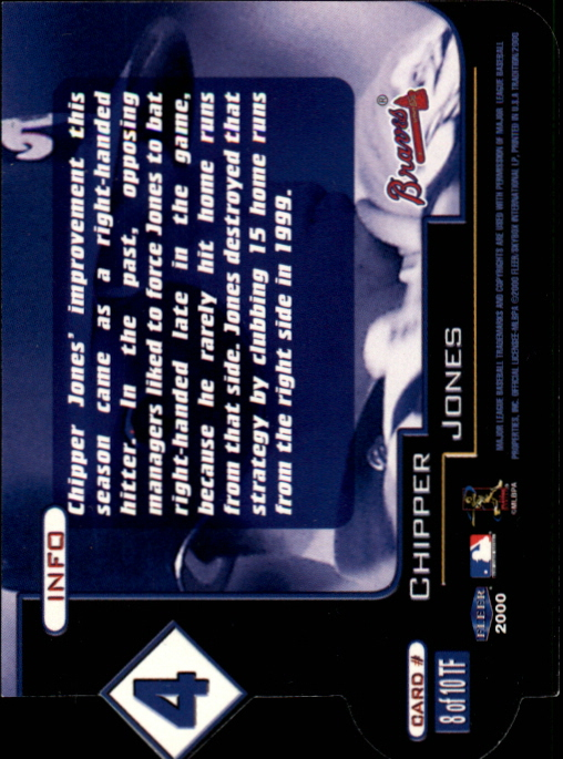 2000 Fleer Tradition Ten-4 #TF8 Chipper Jones back image