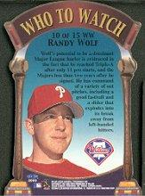2000 Fleer Tradition Who To Watch #WW10 Randy Wolf back image