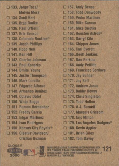 2000 Fleer Tradition Glossy #121 Checklist/N.Garciaparra back image