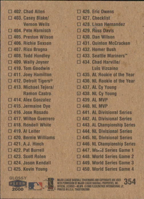 2000 Fleer Tradition Glossy #354 Checklist/A.Rodriguez back image