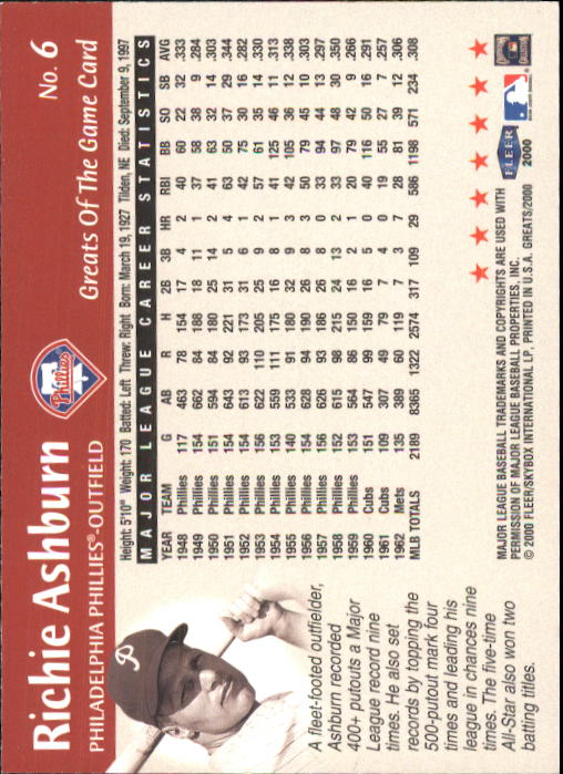 2000 Greats of the Game #6 Richie Ashburn back image