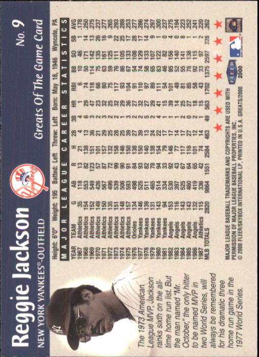 2000 Greats of the Game #9 Reggie Jackson back image