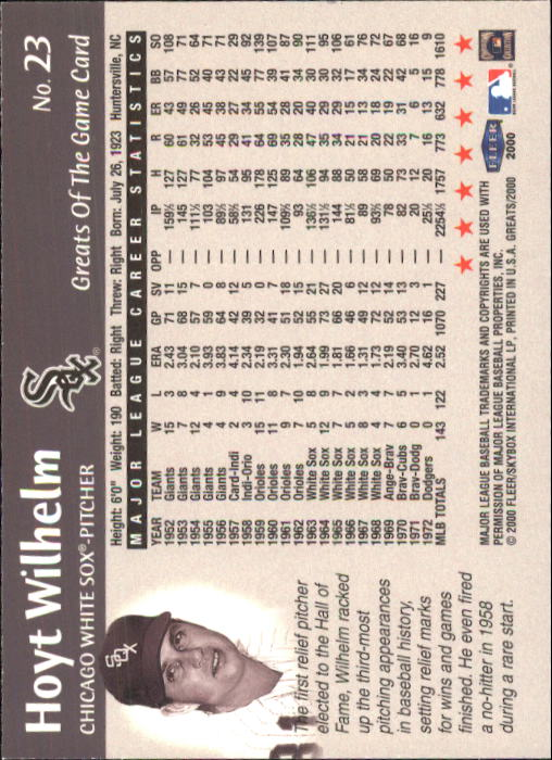 2000 Greats of the Game #23 Hoyt Wilhelm back image