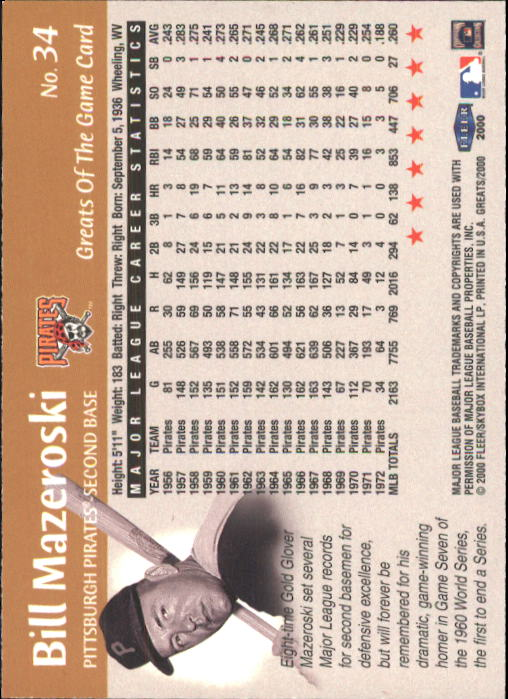 2000 Greats of the Game #34 Bill Mazeroski back image
