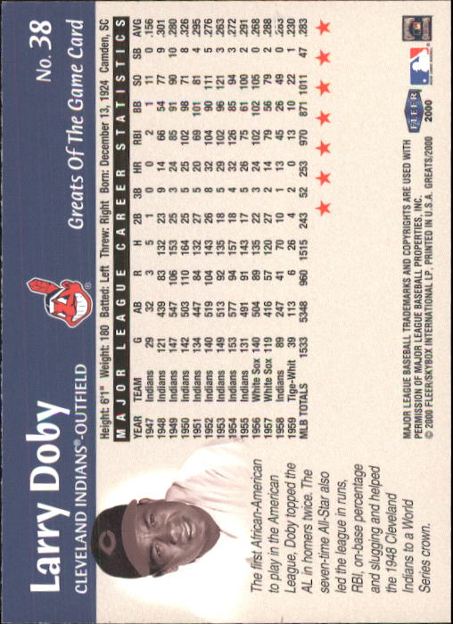 2000 Greats of the Game #38 Larry Doby back image
