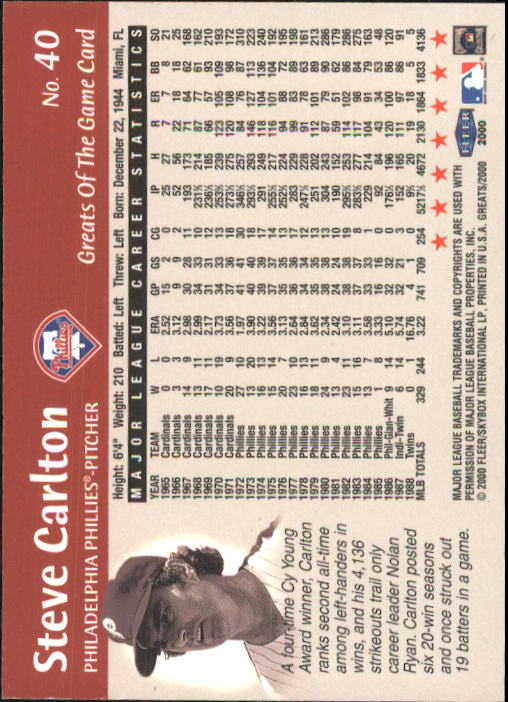 2000 Greats of the Game #40 Steve Carlton back image
