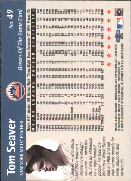 2000 Greats of the Game #49 Tom Seaver back image
