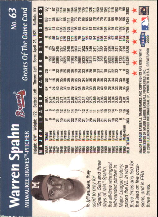 2000 Greats of the Game #63 Warren Spahn back image