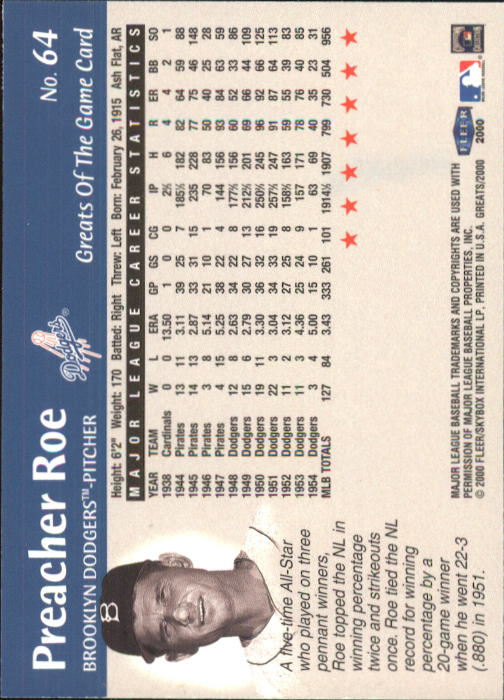 2000 Greats of the Game #64 Preacher Roe back image