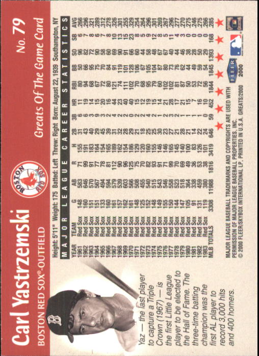 2000 Greats of the Game #79 Carl Yastrzemski back image