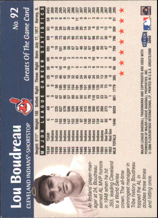 2000 Greats of the Game #92 Lou Boudreau back image