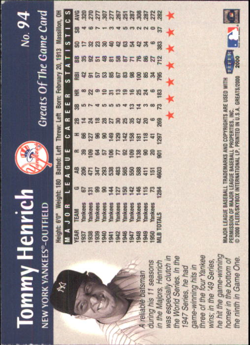 2000 Greats of the Game #94 Tommy Henrich back image