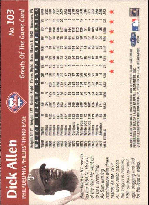 2000 Greats of the Game #103 Dick Allen back image