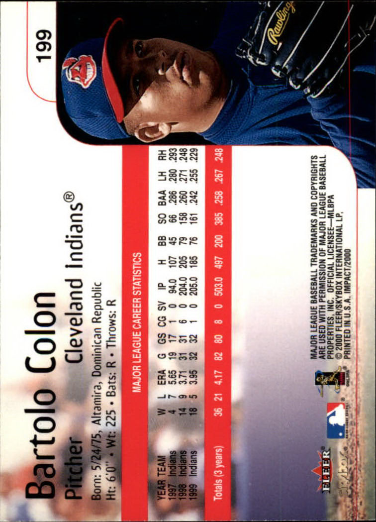 2000 Impact #199 Bartolo Colon back image