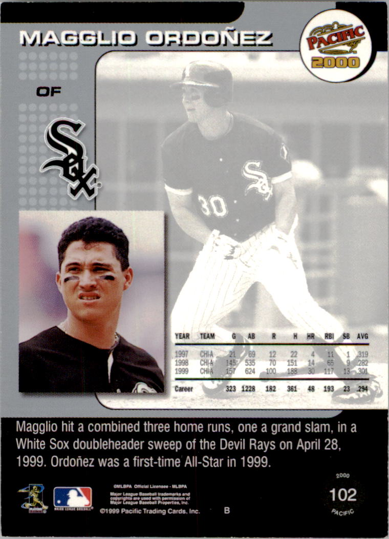 2000 Pacific Gold #102 Magglio Ordonez back image