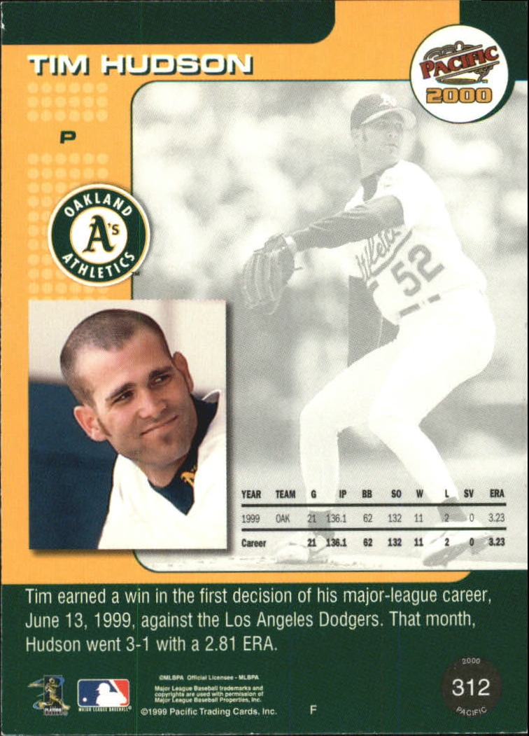 2000 Pacific Ruby #312 Tim Hudson back image